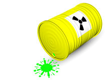 Radioactive barrel. With radioactive waste  on white background Stock Image