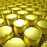Radioactive barrels Stock Images