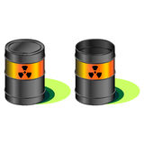 Radioactive barrels with leak Royalty Free Stock Image