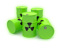 The radioactive barrels on a white background. The green glowing radioactive barrels with black logo isoated on a white background royalty free illustration