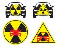 Radioactive car. The figure shows a sign of radioactive car Royalty Free Stock Image