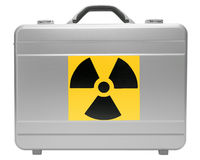 Radioactive cargo. Metal case with a sign on radiating danger isolated on white background Stock Images