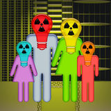 Radioactive City. Abstract family standing together with children in respirators on heads with over radioactive wasted city background Stock Images
