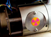 Radioactive container in the part of machinery Royalty Free Stock Photos