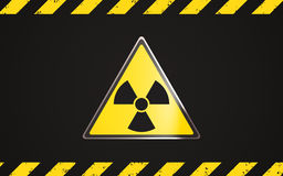 Radioactive contamination hazard. Warning! Dangerous area of radioactive contamination vector illustration
