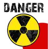 Radioactive danger japan. Radioactive danger symbol on the japanese flag Stock Photos