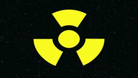 Radioactive danger symbol with a star background pumping stock video footage