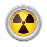Radioactive Danger Yellow Button. Stock Image