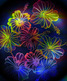 Radioactive floral_black. Radioactive floral arrangement with glowing neon acid green and teal gradient coloring Stock Image