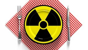 Radioactive food. Food contaminated with radiation. Dangerous food.