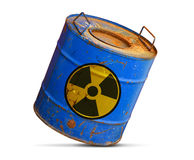 Radioactive hazard concept. Dirty barrel isolated. On white background stock images