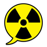 Radioactive icon in speech bubble Stock Photos