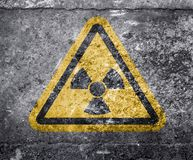 Radioactive ionizing radiation danger symbol with yellow and black stripes Royalty Free Stock Image