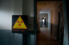 Radioactive logo on caution si Royalty Free Stock Images