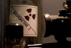 Radioactive material. A tin of radioactive material bij defence Royalty Free Stock Photography