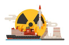 Radioactive, nuclear power plant building, explosion of bomb, atomic icons set of banners vector illustration. Flying. Rocket, radiation sign, ship vector illustration