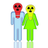 Radioactive People. Radioactive abstract couple standing together with respirators with reflection isolated over white background Royalty Free Stock Images