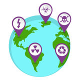 Radioactive pin map on the earth Royalty Free Stock Photos