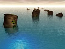 Radioactive pollution in sea. Radioactive pollution in sea. Graphic illustration Royalty Free Stock Photo