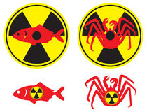 Radioactive seafood. The figure shows a sign of radioactive seafood Stock Photos