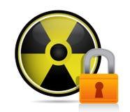 Radioactive sign behind a lock Royalty Free Stock Image