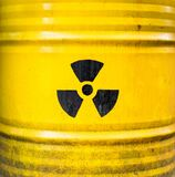 Radioactive sign. Yellow nuclear waste barrel. Royalty Free Stock Photos