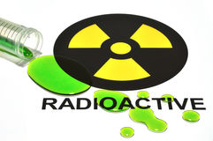 Radioactive Sign & Spill. Conceptualization of a radiological hazard Stock Photography