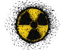 Radioactive symbol exploding Royalty Free Stock Photos