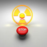 Radioactive. Symbol in a yellow and red color Royalty Free Stock Image