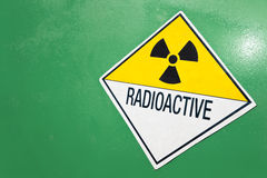 Radioactive Warning Sign on a Green Container Royalty Free Stock Photo