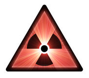 Radioactive warning sign light flare Royalty Free Stock Images