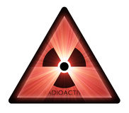 Radioactive warning sign light flare Royalty Free Stock Photos