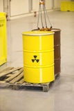 Radioactive waste. Stored in barrel Stock Photos