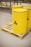 Radioactive waste. Stored in barrels Royalty Free Stock Photo