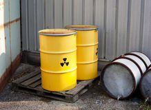 Radioactive waste. Stored in barrels Royalty Free Stock Image