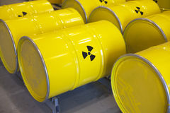 Radioactive waste. Stored in barrels Stock Photo