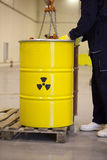 Radioactive waste. Stored in barrel Stock Photo