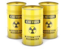 Radioactive waste barrels Royalty Free Stock Images