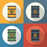 Radioactive waste in barrels . Royalty Free Stock Photos