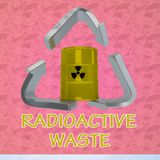 Radioactive Waste concept. 3D illustration of RADIOACTIVE WASTE title with a barrel in a recycling symbol as a background Stock Photo