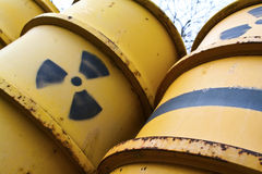 Radioactive waste from nuclear industry in yellow Royalty Free Stock Photography