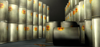 Radioactive waste repository. Leaky barrels with radioactive waste in a radioactive waste repository Royalty Free Stock Photography