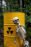 Radioactive waste and skeleton Royalty Free Stock Image