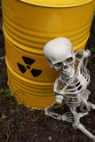 Radioactive waste and skeleton Royalty Free Stock Photography