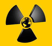 Radioactive world globe. 3D isolated world globe in the center of a radioactive symbol icon Royalty Free Stock Photo