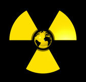Radioactive world globe. 3D isolated world globe in the center of a radioactive symbol icon Royalty Free Stock Photography