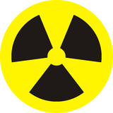 Radioactivity. Radiation sign,for all dangerous websites Royalty Free Stock Photo