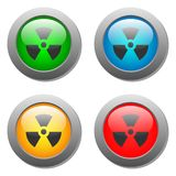 Radioactivity icon  on buttons set Stock Image