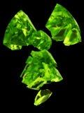 Radioactivity logo uranium glass. 3D rendering of radioactivity logo made with uranium glass material Stock Photo