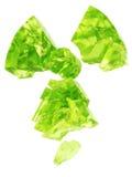 Radioactivity logo uranium glass. 3D rendering of radioactivity logo made with uranium glass material Stock Photos